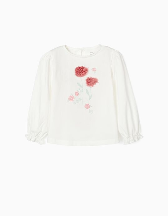 Long Sleeve Top for Girls, 'Flowers', White