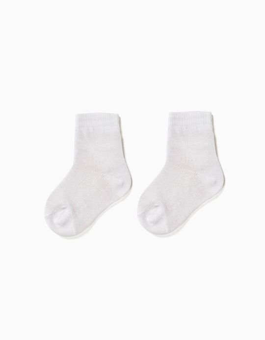 2-Pack Cotton Socks for Baby, White