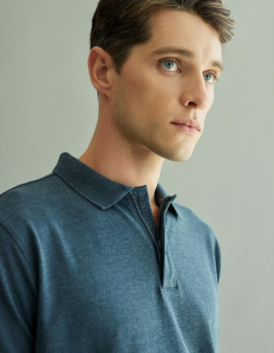 Polo Shirt in Techno Fabric for Men, Blue