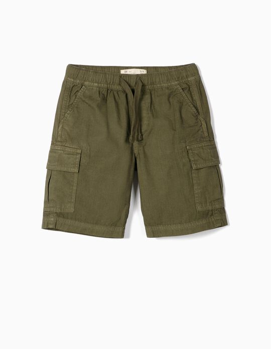 Cargo Shorts for Boys, 'Ripstop', Green