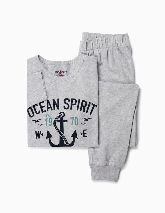 Pijama algodão mesclado náutico