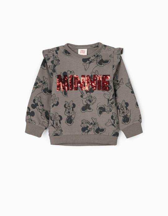 Sweatshirt para Bebé Menina 'Minnie', Cinza