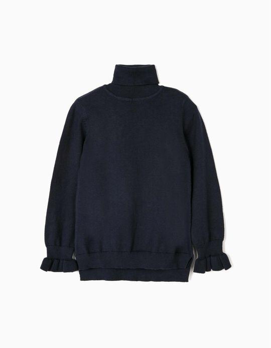 Camisola de Gola Alta para Menina, Azul Escuro