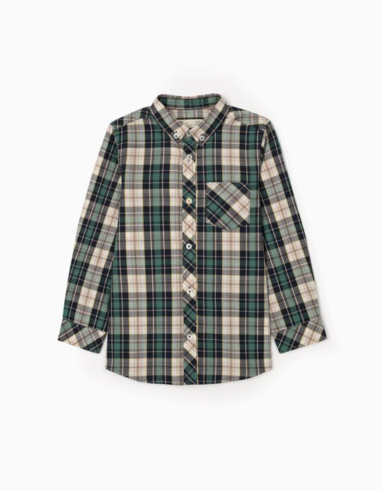 Plaid Shirt for Boys, Green/Blue/Beige