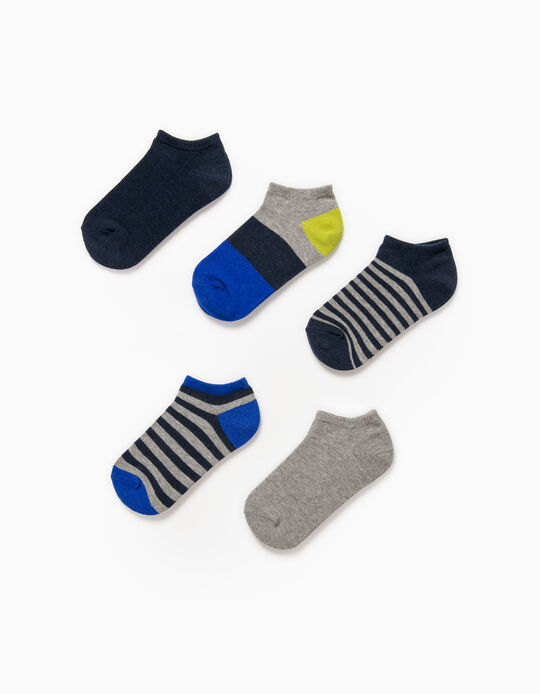 5 Pairs of Trainer Socks for Boys, 'Stripes', Multicoloured