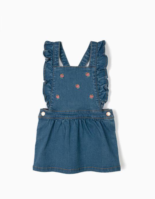 Saia de Peito para Bebé Menina 'Comfort Denim' com Bordados, Azul