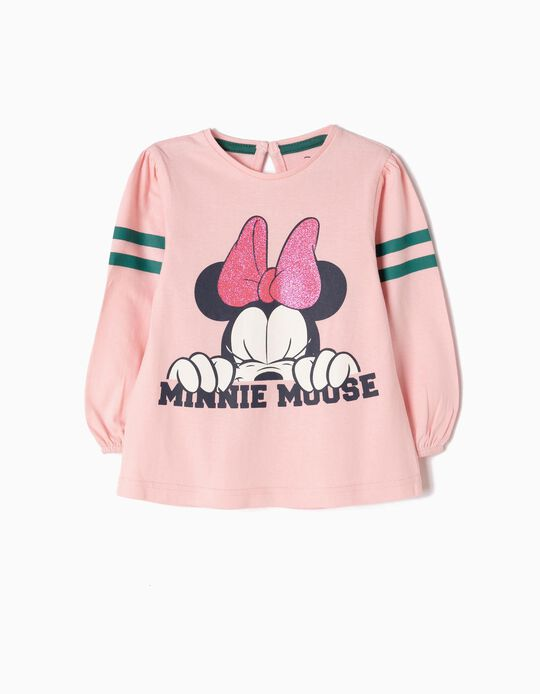 Pink Long-Sleeved Basic Top, Minnie