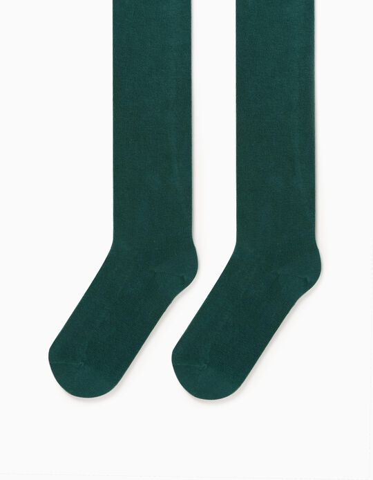 Knit Tights for Girls, Green