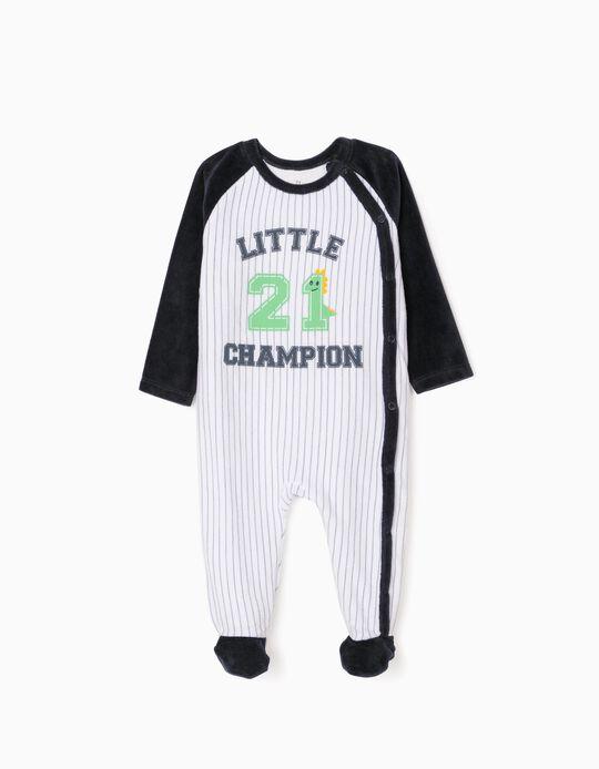 Velour Sleepsuit for Baby Boys, 'Little Champ', Blue/White