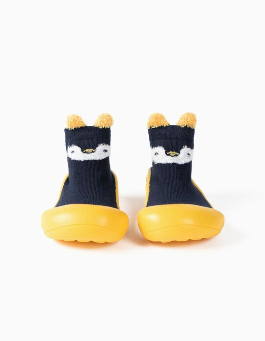 Socks with Rubber Soles for Babies 'Steppies', Dark Blue/Yellow