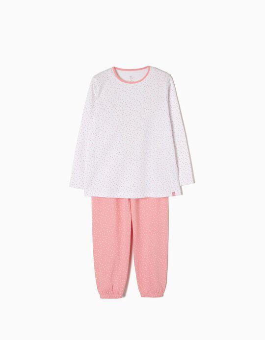 Pijama Manga Comprida e Calças Bolinhas