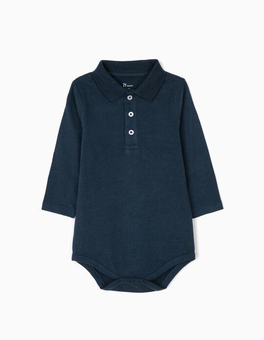 Body Polo para Recém-Nascido, Azul Escuro