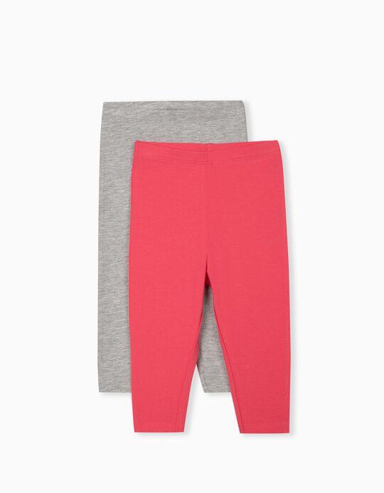 2 Pairs Leggings for Baby Girls, Grey/ Pink