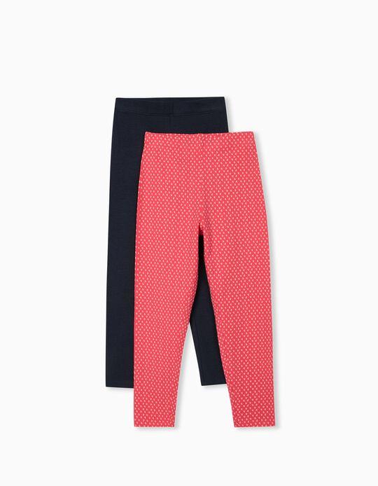 2 Pairs of Leggings for Girls, Dark Blue/ Pink Hearts