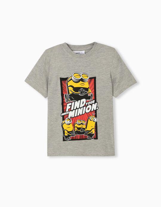 T-shirt Minions para Criança, Cinza